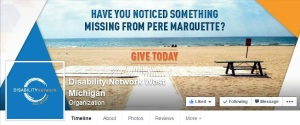 DNWM Facebook Header features a picture of a walkway on a beach and reads - Have You Noticed Something Missing from Pere Marquette? GIVE TODAY