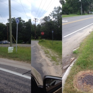 Three photos of inaccessible bus stops in Muskegon County
