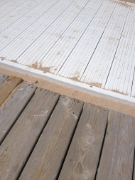 A huge gap between the Boardwalk and a warped, inaccessible wooden picnic area