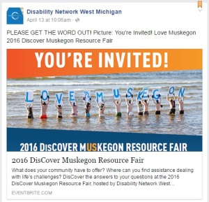 "Screenshot - DisCover Muskegon Resource Fair - You're Invited! Image: people standing in Lake Michigan with signs that spell out ""Love Muskegon"""