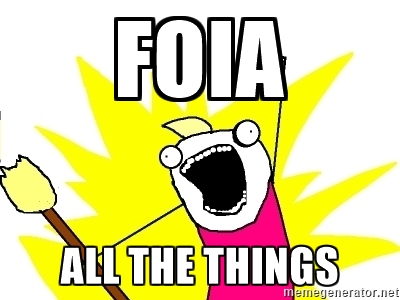 An illustration of a person exuberantly shouting FOIA ALL THE THINGS by memegenerator.net