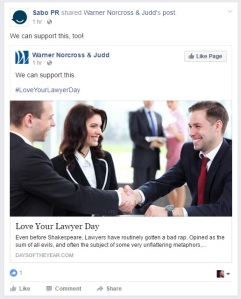 "Sabo PR shared a post on Facebook: Warner, Norcross & Judd shared an article titled ""Love Your Lawyer Day"". Sabo PR added the commentary ""We can support this"". Image: three white people smile and shake hands."